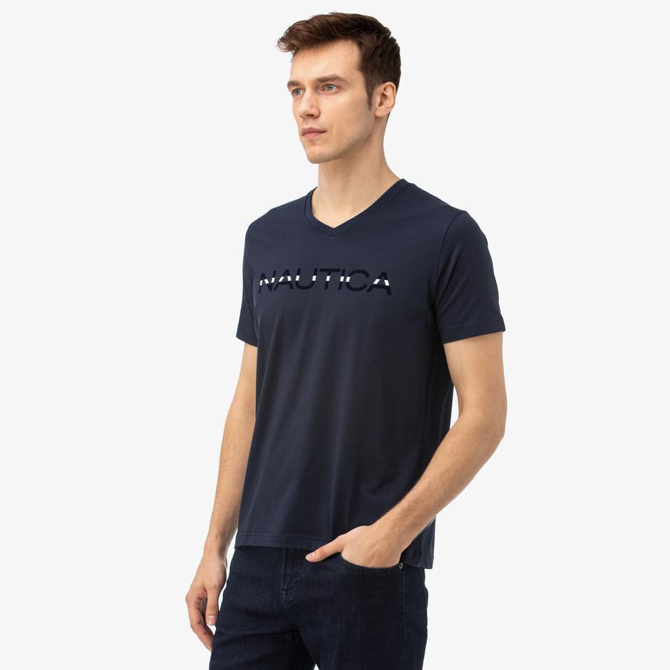 NAUTICA Erkek Lacivert V-Yaka T-Shirt
