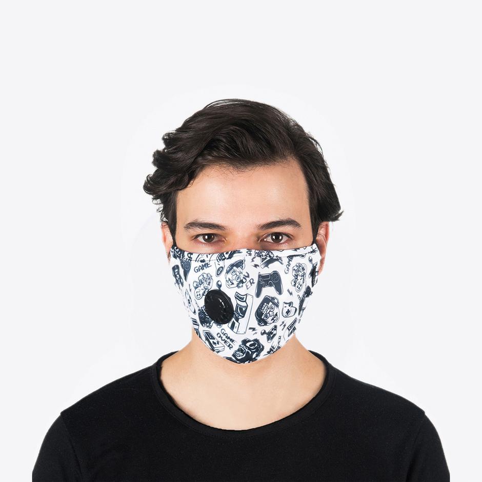 Chum Gamer Erkek Beyaz PM 2.5 Aktif Filtreli Yıkanabilir Maske