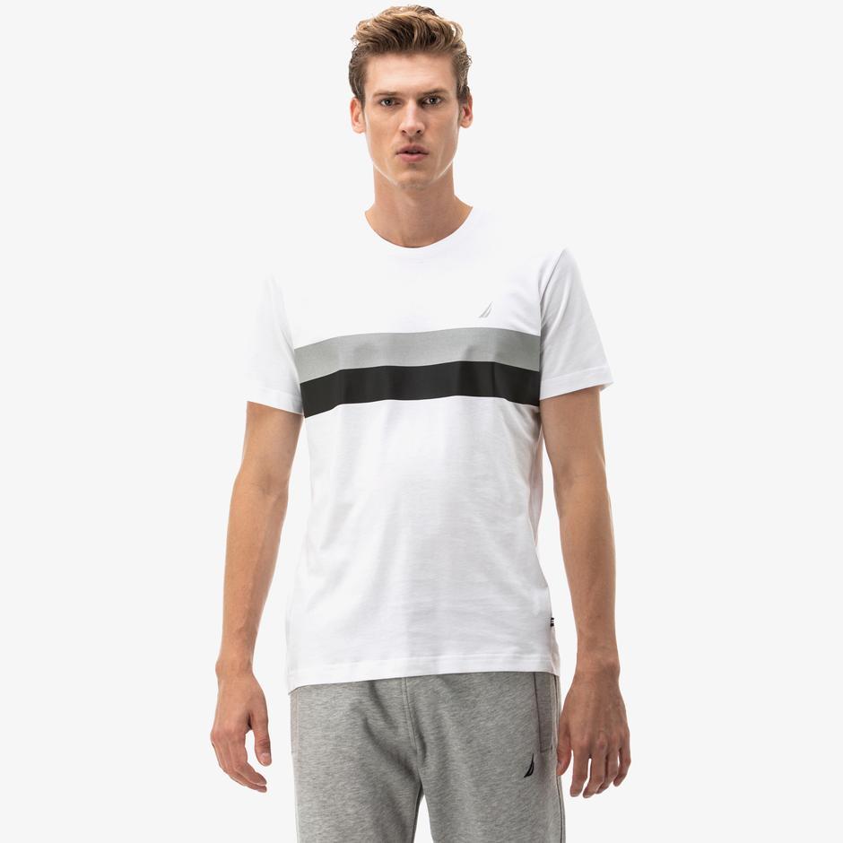 Nautica Erkek Beyaz Çizgili Slim Fit T-Shirt