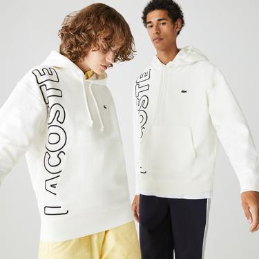 Lacoste L!VE Unisex Beyaz Sweatshirt