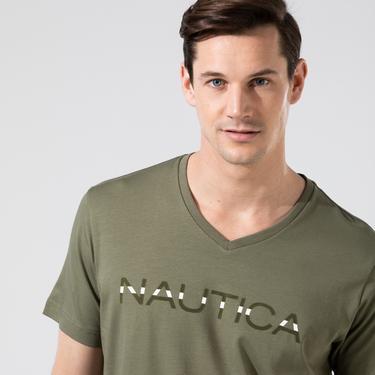 NAUTICA Erkek Haki V-Yaka T-Shirt