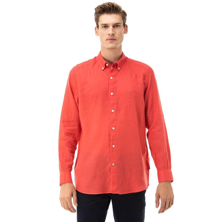 NAUTICA Erkek Classic Fit Kırmızı Gömlek