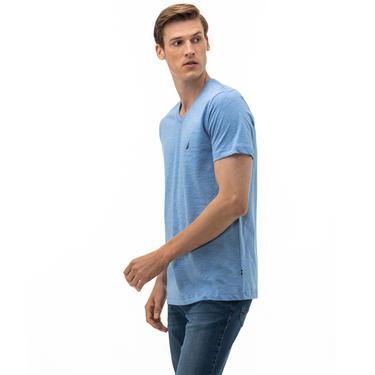 NAUTICA Erkek Mavi V-Yaka T-Shirt