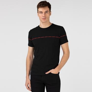 Lacoste Erkek Bisiklet Yaka Baskılı Siyah T-Shirt