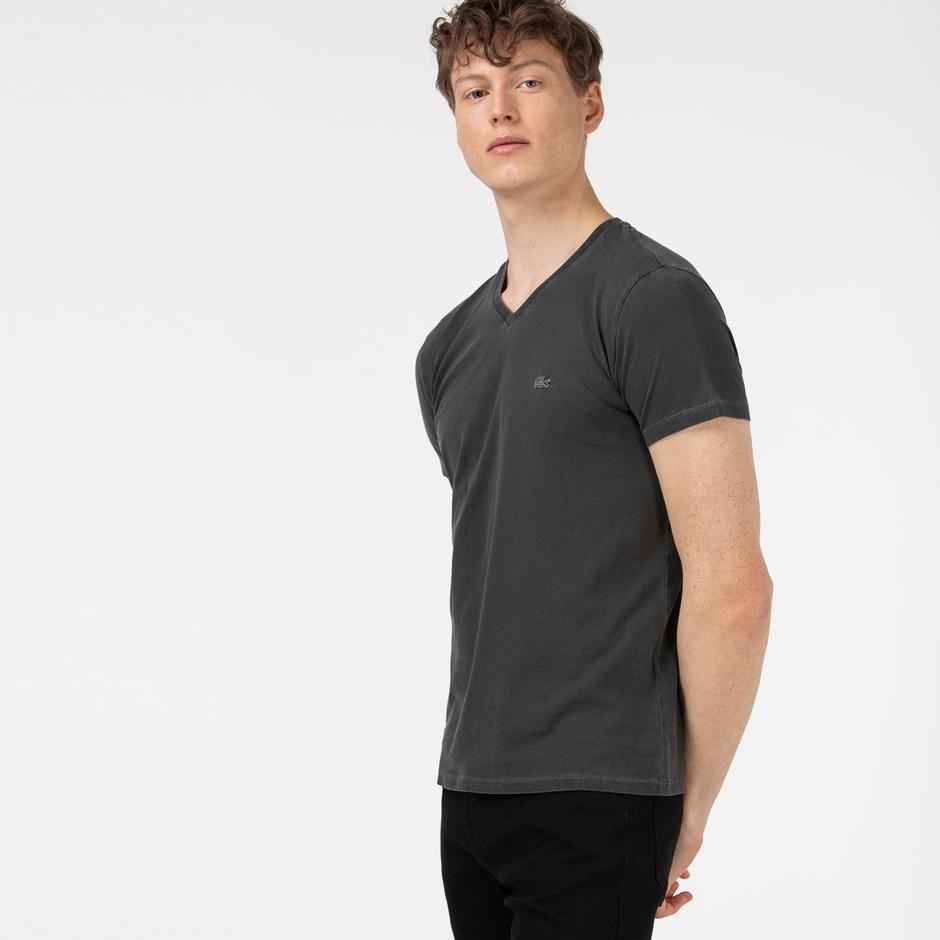 Lacoste Erkek Slim Fit V Yaka Gri T-Shirt