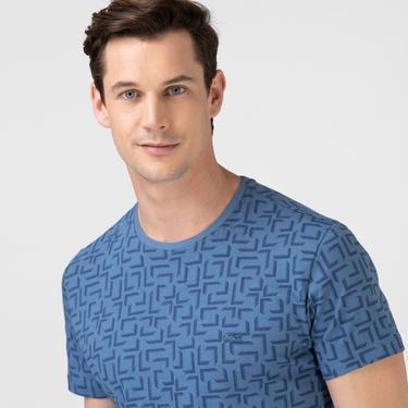 Lacoste Erkek Slim Fit Bisiklet Yaka Desenli Mavi T-Shirt