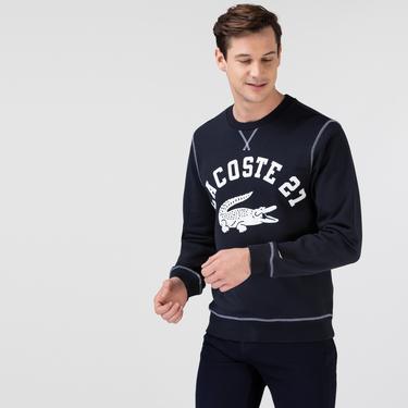 Lacoste Erkek Klasik Fit Bisiklet Yaka Baskılı Lacivert Sweatshirt