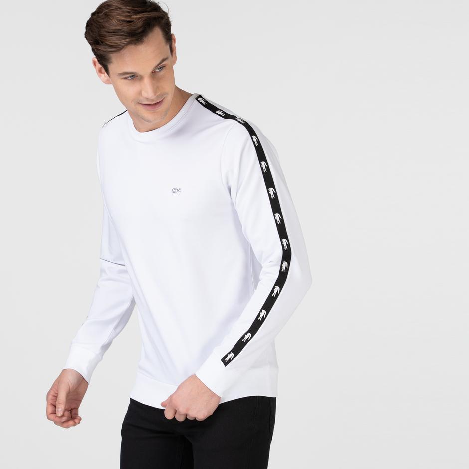 Lacoste Erkek Bisiklet Yaka Baskılı Beyaz Sweatshirt