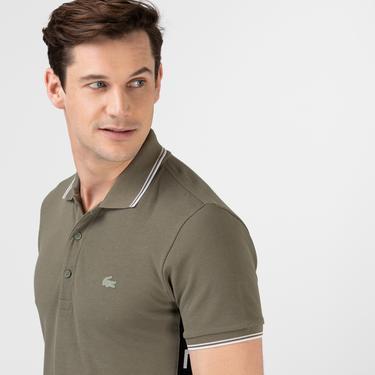 Lacoste Erkek Slim Fit Renk Bloklu Haki Polo