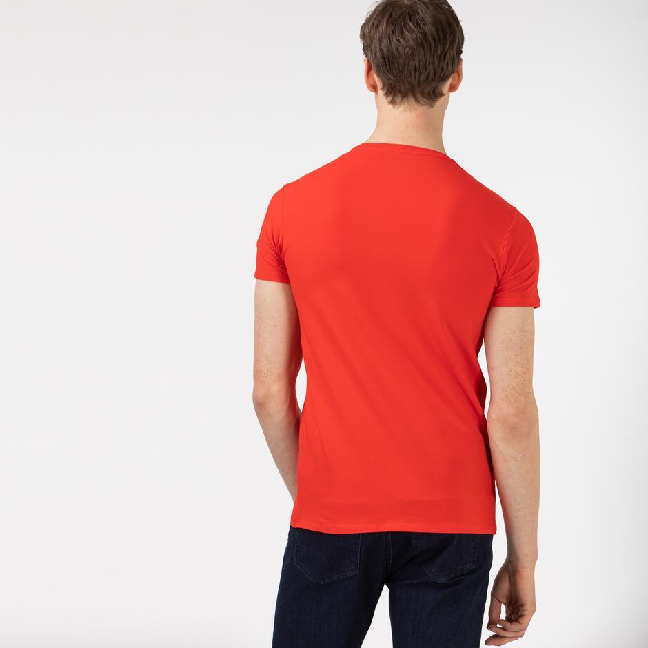Lacoste Erkek Slim Fit Bisiklet Yaka Kırmızı T-Shirt