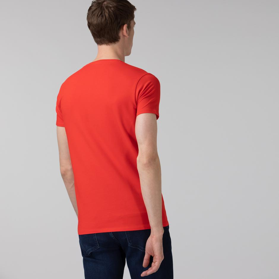 Lacoste Erkek Slim Fit V Yaka Kırmızı T-Shirt