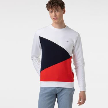 Lacoste Erkek Bisiklet Yaka Renk Bloklu Renkli Sweatshirt