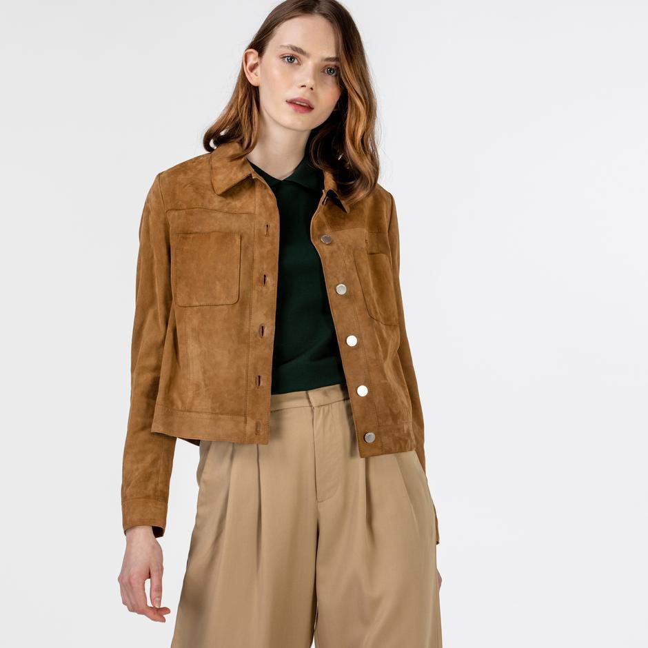 Lacoste Kadın Gömlek Yaka Deri Kahverengi Ceket