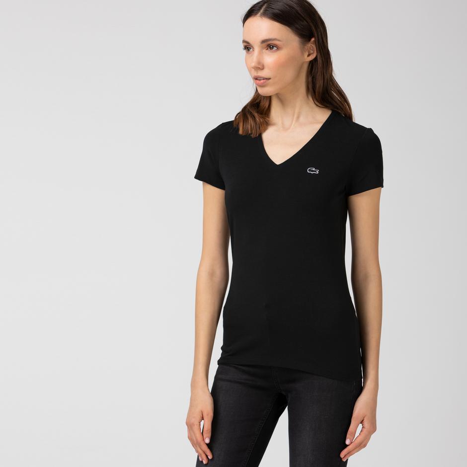 Lacoste Kadın V Yaka Siyah T-Shirt