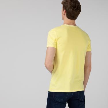 Lacoste Erkek Slim Fit V Yaka Sarı T-Shirt