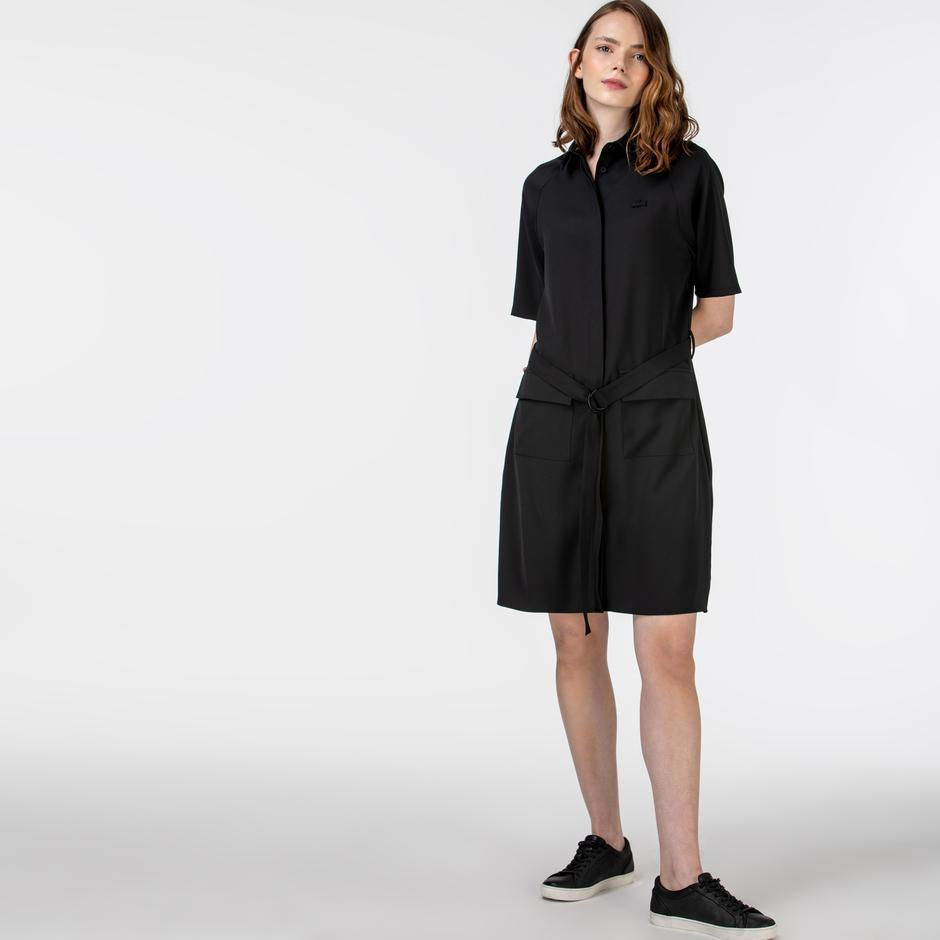 Lacoste Kadın Kısa Kollu Polo Yaka Siyah Elbise