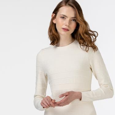 Lacoste Kadın Uzun Kollu Bisiklet Yaka Beyaz Elbise