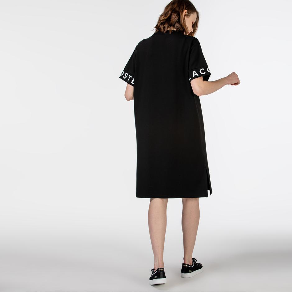 Lacoste Kadın Kısa Kollu Baskılı Bisiklet Yaka Siyah Elbise