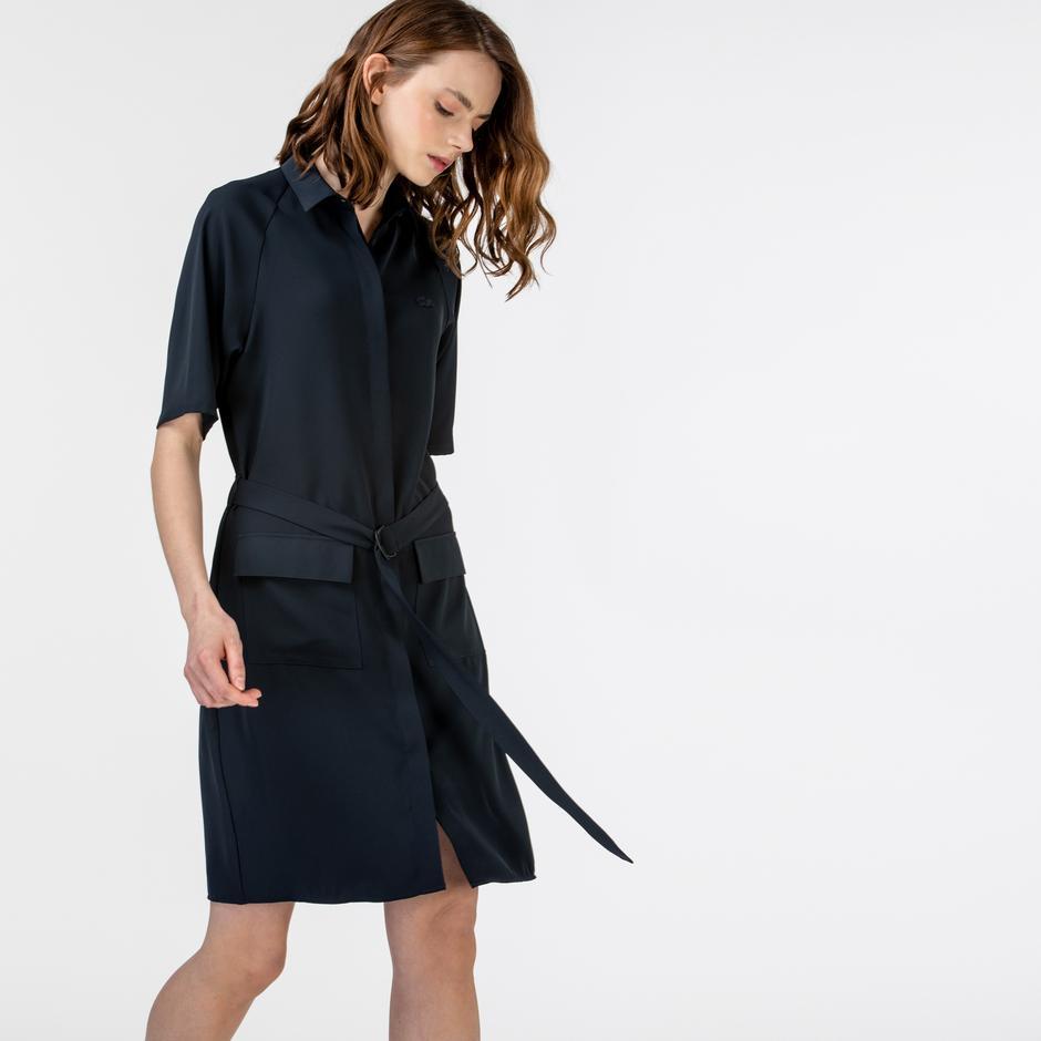 Lacoste Kadın Kısa Kollu Polo Yaka Lacivert Elbise