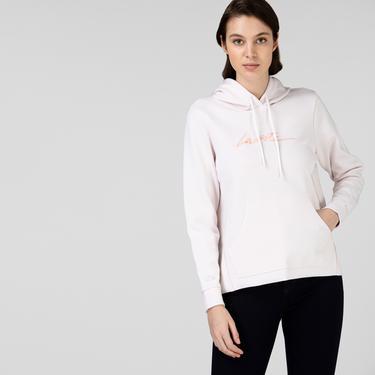 Lacoste Kadın Kapüşonlu Baskılı Pembe Sweatshirt