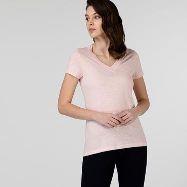 Lacoste Kadın Slim Fit V Yaka Pembe T-Shirt