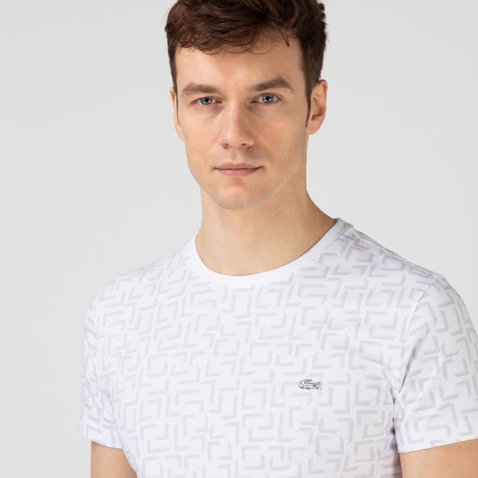 Lacoste Erkek Slim Fit Bisiklet Yaka Desenli Beyaz T-Shirt