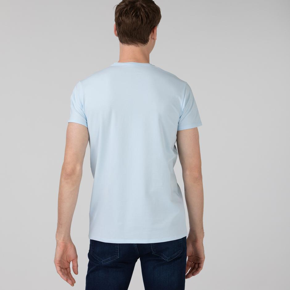 Lacoste Erkek Slim Fit Bisiklet Yaka Açık Mavi T-Shirt