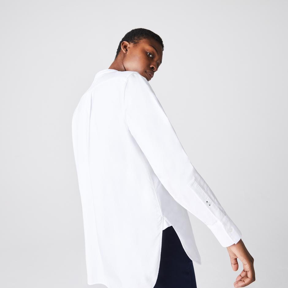 Lacoste Kadın Regular Fit Hakim Yaka Beyaz Gömlek