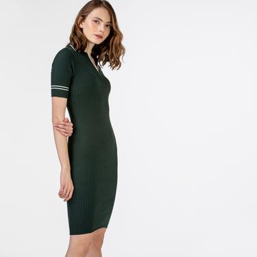 Lacoste Kadın Kısa Kollu Polo Yaka Yeşil Elbise