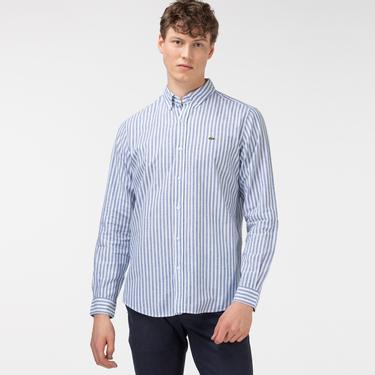 Lacoste Erkek Slim Fit Düğmeli Yaka Çizgili Mavi Gömlek