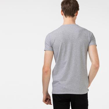 Lacoste Erkek Slim Fit Bisiklet Yaka Gri T-Shirt
