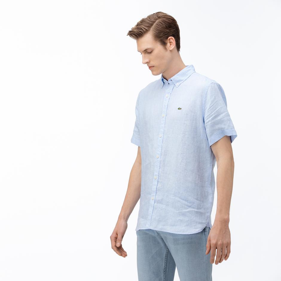 Lacoste Erkek Regular Fit Keten Kısa Kollu Açık Mavi Gömlek
