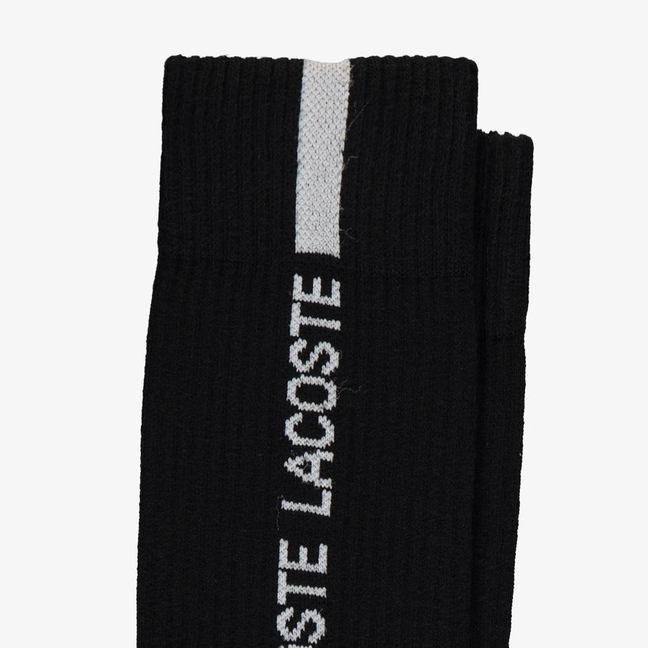 Lacoste Unisex Uzun Baskılı Siyah Çorap