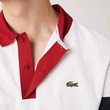 Lacoste Erkek Regular Fit Blok Desenli Beyaz Polo