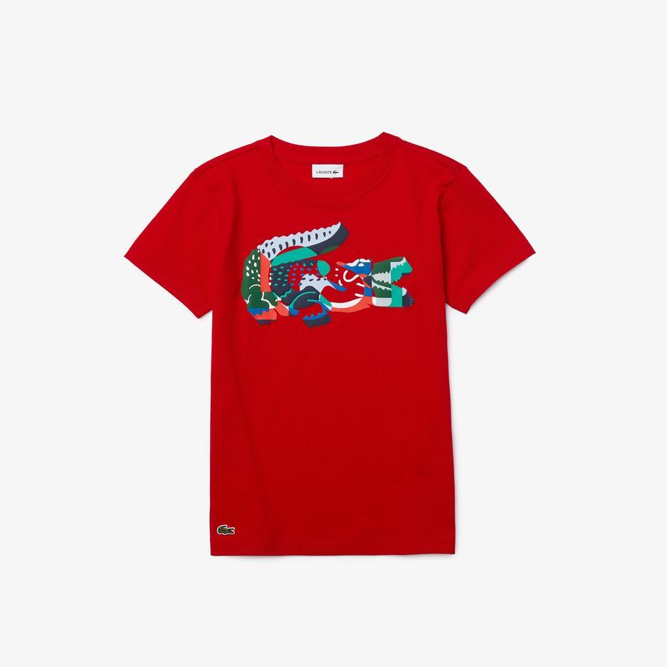 Lacoste Çocuk Baskılı Bisiklet Yaka Kırmızı T-Shirt