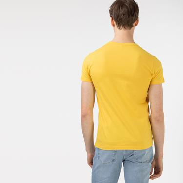 Lacoste Erkek Slim Fit Bisiklet Yaka Baskılı Sarı T-Shirt