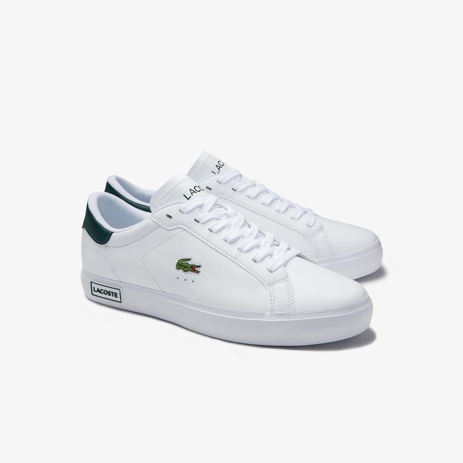 Lacoste Powercourt 0520 1 Sma Erkek Beyaz - Koyu Yeşil Sneaker