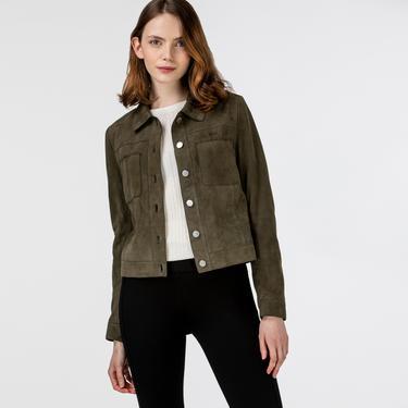 Lacoste Kadın Gömlek Yaka Deri Haki Ceket