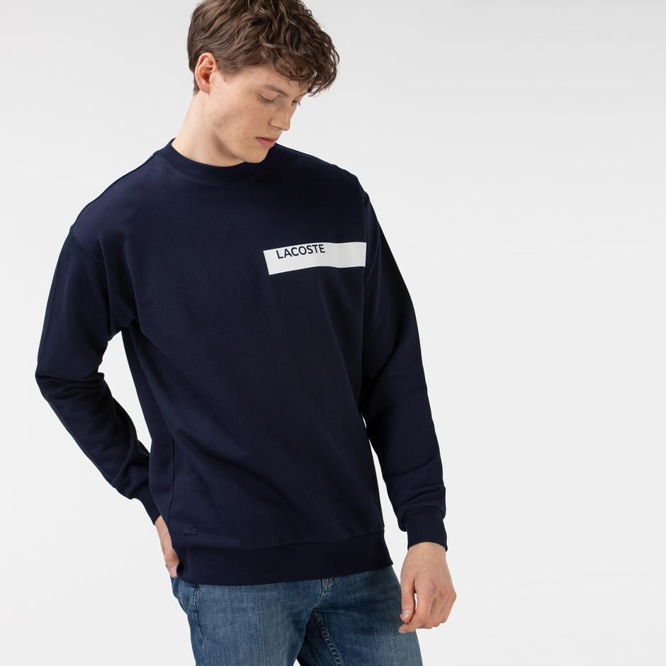 Lacoste Erkek Baskılı Lacivert Sweatshirt