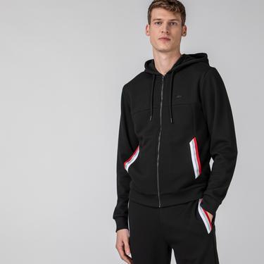 Lacoste Erkek Fermuarlı Kapüşonlu Siyah Sweatshirt