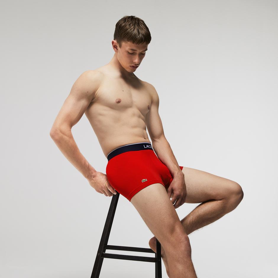 Lacoste Erkek Desenli 3'lü Lacivert - Gri -Kırmızı Boxer